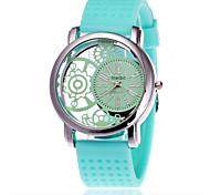 Fashion Unisex Silicone Watch Casual Women Hollow Pattern Quartz Watches Relogio Feminino Clock Hot Sale