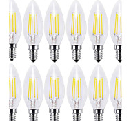 cheap -KWB 12pcs 4W 400 lm E14 LED Filament Bulbs C35 4 leds COB Decorative Warm White Cold White AC 220-240V
