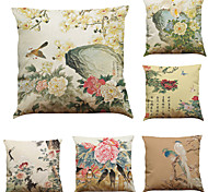 Set of 6 Chinese Style Retro Pattern  Linen Pillowcase Sofa Home Decor Cushion Cover (18*18inch)