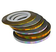 Недорогие -6rolls / set 20m / roll смешанный 1mm2mm3mm новое золото способа лазерное&Серебряный Nail Art полоса ленты линии наклейки Nail Art