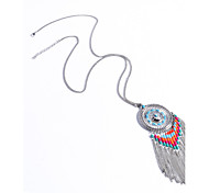 preiswerte -Damen Türkis Quaste / Lang Statement Ketten - Türkis Personalisiert, Böhmische, Modisch Silber Modische Halsketten Für Alltag, Normal