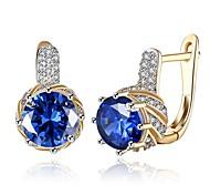 Women's Stud Earrings Clip Earrings Crystal AAA Cubic Zirconia Basic Circular Unique Design Dangling Style Rhinestone Geometric