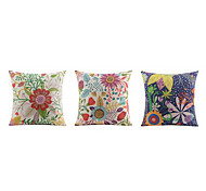 3 pcs High Quality Linen Pillow Case Bed Pillow Body Pillow Travel Pillow Sofa CushionFloral Graphic PrintsTropical Accent/Decorative Outdoor