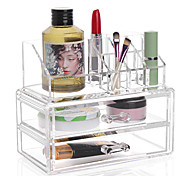 Complex Combined Large Capacity 3 Layer Makeup Brush Pot Storage Drawer Cosmetic Organizer Box 2Pc Set