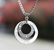 cheap -Women's Silver Plated Imitation Diamond Alloy Pendant Necklace - Silver Plated Imitation Diamond Alloy Basic Fashion Circle Necklace For