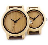 Pareja Reloj de Moda Reloj creativo único Reloj Casual Reloj Madera Reloj de Pulsera Japonés Cuarzo Cuarzo Japonés de maderaCuero