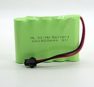 Ni-Mh  Battery Aa 1800Mah 6V High Quality  Sm Head (Green Color)