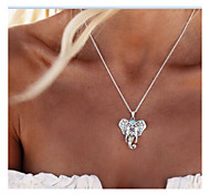 cheap -Women's Pendant Necklace - Personalized Animal Design Vintage Euramerican Fashion Elephant Silver Necklace For Daily Casual