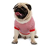 Недорогие -Кошка Собака Футболка Толстовка Жилет Одежда для собак Классика Очаровательный Праздник На каждый день Мода Спорт В полоску Красный Синий