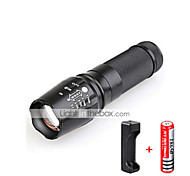 LED Flashlights / Torch LED 3000 lm 5 Mode Cree T6 with Battery and Charger Zoomable Adjustable Focus Impact Resistant Nonslip grip