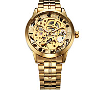 cheap -WINNER Men's Automatic self-winding Mechanical Watch / Wrist Watch Hollow Engraving Stainless Steel Band Luxury Gold