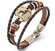 cheap -Men's Women's Leather Leather Bracelet - Vintage Geometric Brown Bracelet For Gift