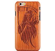baratos -For apple iphone 6 6s em relevo padrão caso de volta tampa caso madeira grão crânio duro sólido madeira