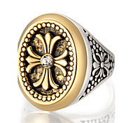 cheap -Men's Ring Statement Ring - Round Geometric Personalized Luxury Unique Design Vintage Statement Euramerican Fashion Golden Ring For Party