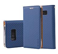 Недорогие -Кейс для Назначение SSamsung Galaxy J7 Prime J5 Prime Бумажник для карт Кошелек Кольца-держатели Флип Чехол Сплошной цвет Твердый Кожа PU
