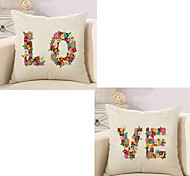 Set Of 2 Creative Flowers LOVE Lovers Pillow Cover 45*45Cm Sofa Cushion Cover Square Pillow Case