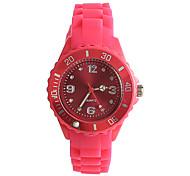 Женские Модные часы Японский Японский кварц / силиконовый Группа Повседневная Розовый