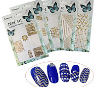 1pcs New Fashion Colorful Pattern Design Nail Art 3D Sticker Mixed White&Gold Creative Decoration BP211-216