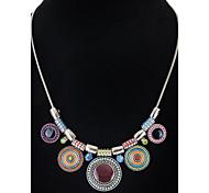 Women's Girls' Pendant Necklaces Chain Necklaces Round Alloy Unique Design Dangling Style Acrylic Friendship Fashion Bohemian Hip-Hop