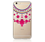 cheap -Case For Apple iPhone 7 Plus iPhone 7 Transparent Pattern Back Cover Lace Printing Soft TPU for iPhone 7 Plus iPhone 7 iPhone 6s Plus