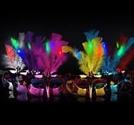LED Halloween Mask Masquerade Feather Women for Face Princess Hallowmas Random Color