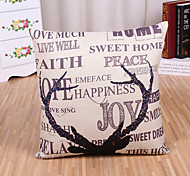 cheap -1 Pcs Quotes & Sayings With Deer Horn Pillow Cover Square Cotton/Linen Pillow Case Home Decor