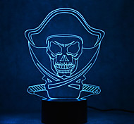 Christmas Pirates Touch Dimming 3D LED Night Light 7Colorful Decoration Atmosphere Lamp Novelty Lighting Christmas Light