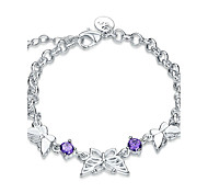 Women's Girls' Chain Bracelet Crystal Friendship Fashion Vintage Punk Rock Silver Plated Bowknot Jewelry For Wedding Party Special