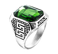 Men's Ring Synthetic Emerald Unique Design Fashion Euramerican Zircon Emerald Alloy Jewelry Jewelry For Wedding Special Occasion
