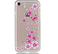 Недорогие -Для яблока iphone 7 7 плюс 6s 6 плюс цветок бабочки узор рельефный лак tpu материал не затухает телефонный футляр