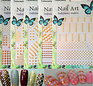 1pcs New Fashion Nail Art 3D Sticker Mixed White&Gold Colorful Pattern Design Creative Decoration BP201-210