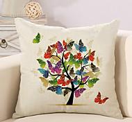 1 Pcs Beautiful Butterfly Tree Of Life Pillow Cover Square Sofa Cushion Cover Cotton/Linen Pillow Case