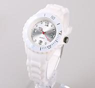 Женские Модные часы Японский Японский кварц / силиконовый Группа Повседневная Белый Серебристый металл