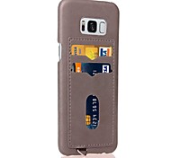 cheap -Case For Samsung Galaxy S8 Plus S8 Card Holder Back Cover Solid Color Hard PU Leather for S8 Plus S8