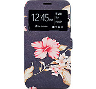 Case For Samsung Galaxy A5(2017) A3(2017) Flower Pattern Window Clamshell PU Leather Case with Stand and Card Slot