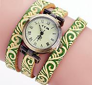 XU Women's Luxurious Elegant Quartz Leather Round Diamonds Bracelet Watch