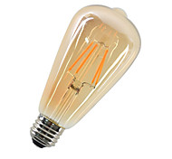 cheap -1pc 4W 360 lm E27 LED Filament Bulbs ST64 4 leds COB Decorative Warm White AC 220-240V