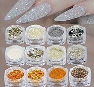 12Bottles/Set 1g/Bottle Hot Fashion Luxurious Shining Gold Silver Nail Art DIY Beauty Glitter Powder Sequins Gorgeous Sparkling Decoration Craft GS