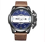 Oulm Brand Men Genuine Leather Band Quartz Watch Clock Luxury Waterproof Big Dial Fashion Wristwatch With Calendar
