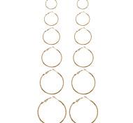 cheap -Women's Earring Back Hoop Earrings Earrings Set Geometric Circle Fashion Punk Euramerican Ferroalloy Metallic Alloy Circle Geometric