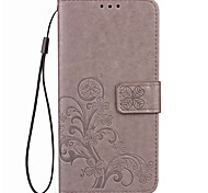 cheap -Case For Huawei Honor 7 Huawei Honor V8 Huawei Card Holder Wallet with Stand Flip Embossed Full Body Cases Solid Color Flower Hard PU
