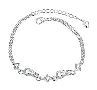 Women's Girls' Chain Bracelet Crystal Friendship Fashion Vintage Silver Plated Flower Jewelry For Wedding Party Special Occasion
