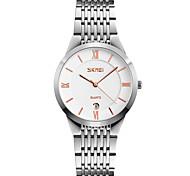 Недорогие -SKMEI Муж. Наручные часы Нарядные часы Японский Кварцевый Календарь Защита от влаги Нержавеющая сталь Группа Cool Серебристый металл