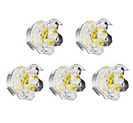 5pcs dimmable led downlights 1w blanc chaud cristal ac220-240v