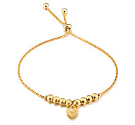 cheap -New fashion accessories gift girlfriends with copper plating 18 k gold frosted transport bead bracelet with love