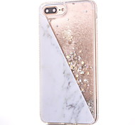 For iPhone 8 iPhone 8 Plus Case Cover Rhinestone Flowing Liquid Pattern Back Cover Case Glitter Shine Marble Hard PC for Apple iPhone 8
