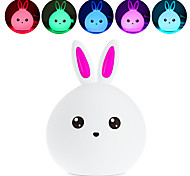 cheap -BRELONG Lovely Rabbit Colorful Silicone LED Night Light - BLUE/Pink