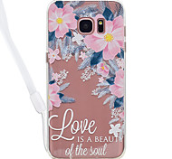 Case For Samsung Galaxy S8 Plus S8 Flower Pattern Acrylic Backplane and TPU Edge Materia Neck Lanyard S7 Edge S7 S6 Edge S6 S5
