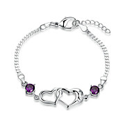 Women's Girls' Chain Bracelet Crystal Friendship Fashion Punk Rock Silver Plated Heart Cut Jewelry For Wedding Party Special Occasion
