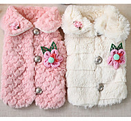 Dog Coat Dog Clothes Casual/Daily Floral/Botanical White Pink Costume For Pets